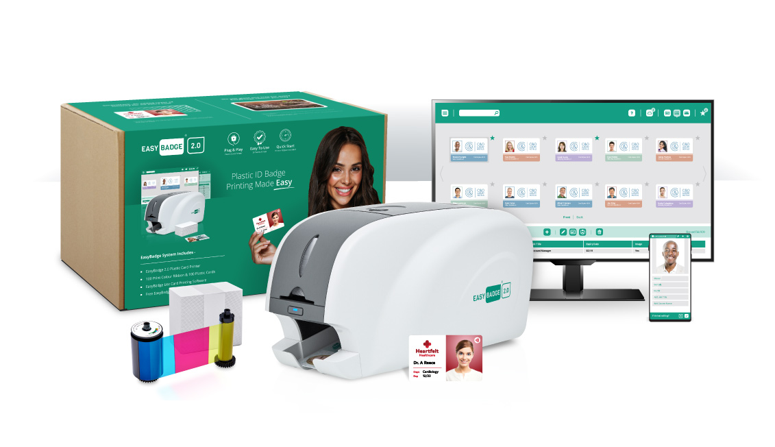 The EasyBadge System includes an EasyBadge Printer, Software, 200 cards and ribbon to print